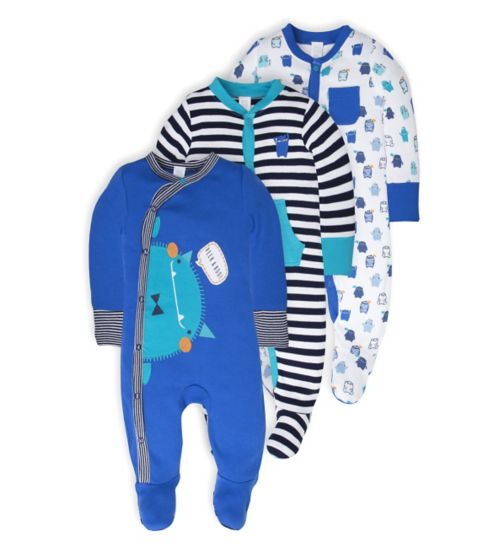 Mini Club Baby Boys Pack Long Sleeve Sleepsuits Monster