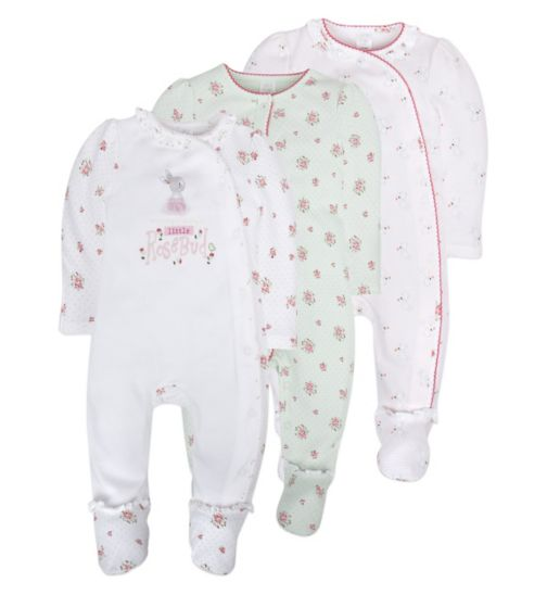 Mini Club Baby Girls 3 Pack Sleepsuits Floral Rabbit