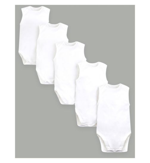 Mini Club Sleeveless Bodysuits White 5 Pack