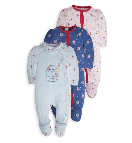 Mini Club Baby Girls 3 Pack Sleepsuits Floral