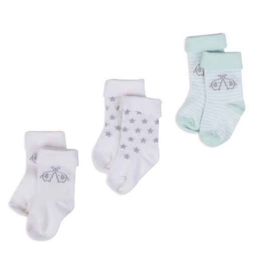 Mini Club Baby 3 Pack Socks Elephant