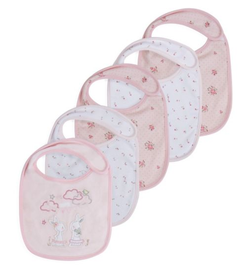 Mini Club Baby Girls 5 Pack Bibs Floral Bunny