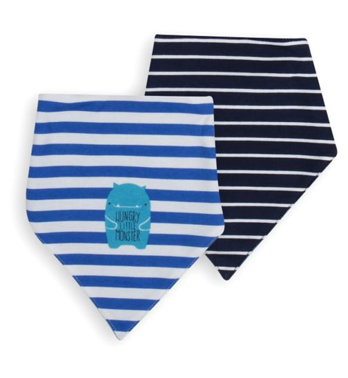 Mini Club Baby Boys 2 Pack Dribble Bibs Blue Monster