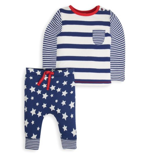 Mini Club Baby Boys Top and Jogger Set Star and Stripe