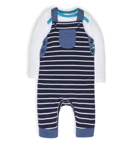 Mini Club Baby Boys Jersey Dungaree Set Stripe