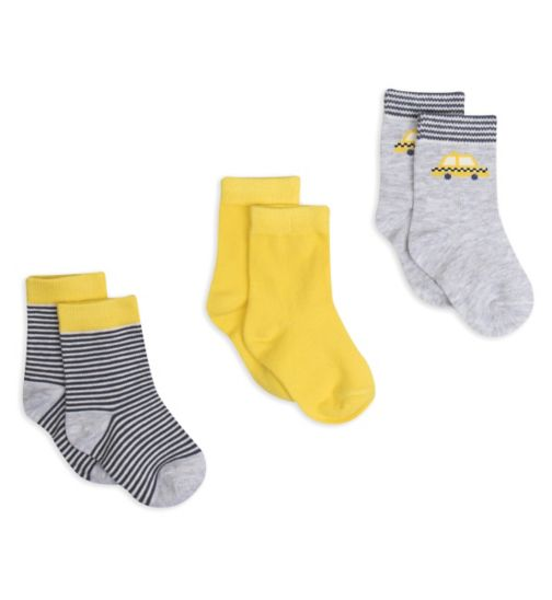 Mini Club Baby Boys 3 Pack Socks Taxi