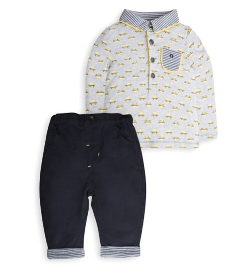 Mini Club Baby Boys Top and Bottom Set Grey Taxi