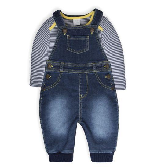 Mini Club Baby Boys Dungaree and Bodysuit Set Denim Stripe