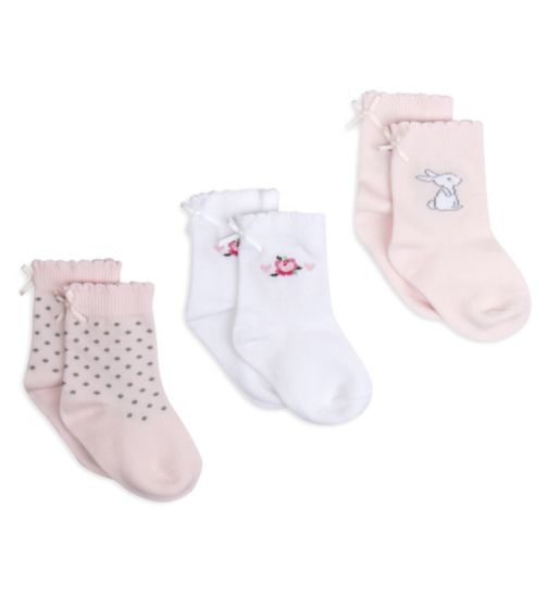 Mini Club Girls 3 Pack Socks Bow