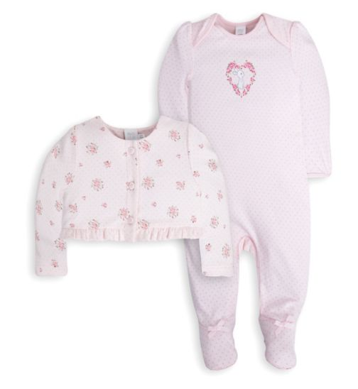 Mini Club Baby Girls All in One and Jacket Set Pink Floral