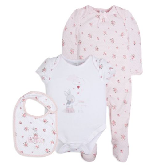Mini Club Baby Girls 3 Piece Set Floral Bunny