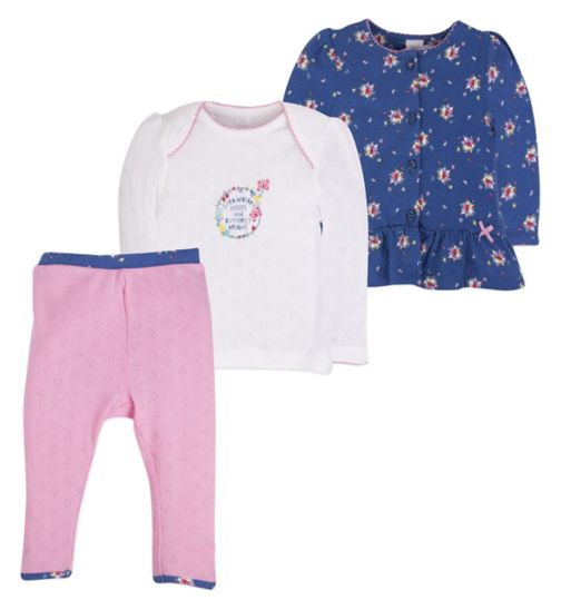 Mini Club Baby Girls 3 Piece Set Floral Heart