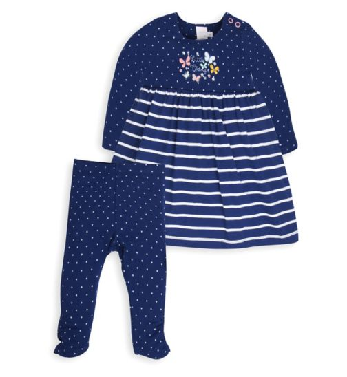 Mini Club Baby Girls Dress and Legging Set Navy Butterfly
