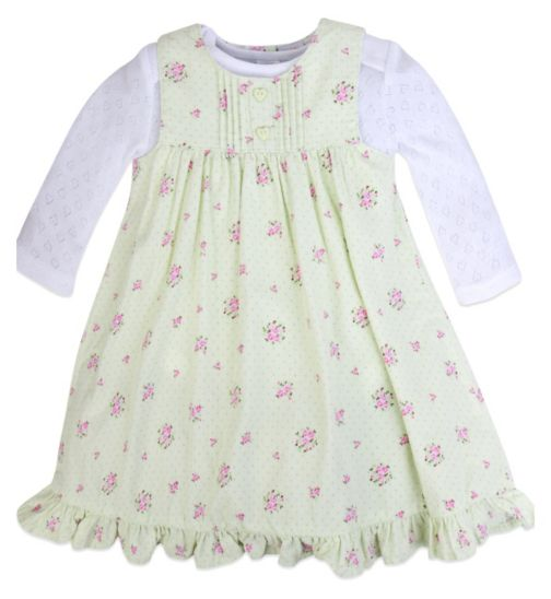 Mini Club Baby Girls Dress and Bodysuit Set Green Floral