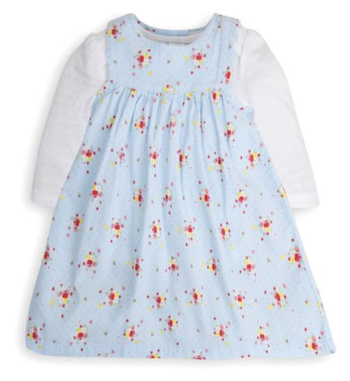Mini Club Baby Girls Cord Dress and Bodysuit Blue Floral