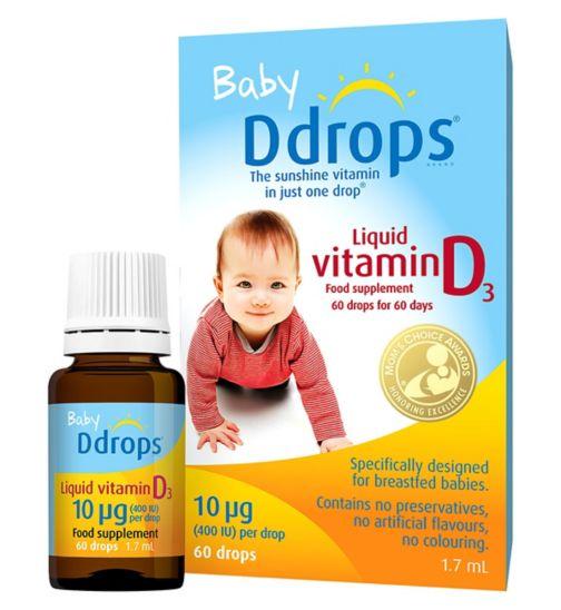 Baby Ddrops Liquid Vitamin D3 10 µg 60 Drops 1.7ml