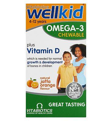 Vitabiotics Wellkid Omega-3 Chewable Plus Vitamin D 60 Capsules
