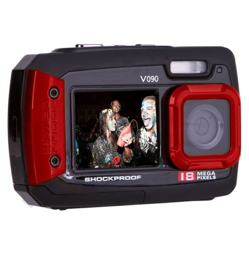 Vivitar V090 Red (18mp, 2.7Inch and 1.8Inch screens, Waterproof) Camera