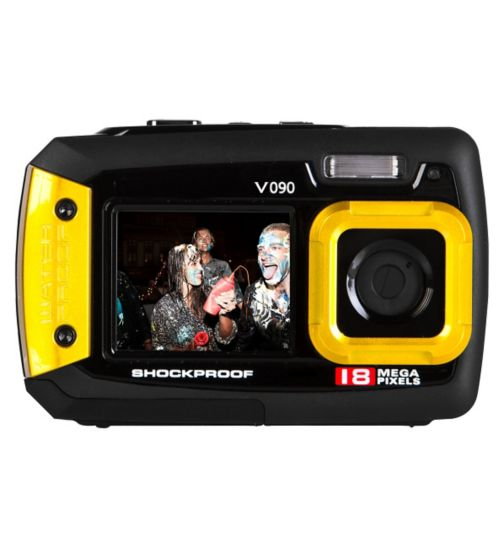 Vivitar V090 Yellow (18mp, 2.7Inch and 1.8Inch screens, Waterproof) Camera
