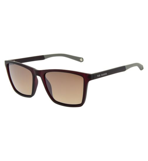 Ted Baker Mens Square Red Sunglasses with Grey Arms