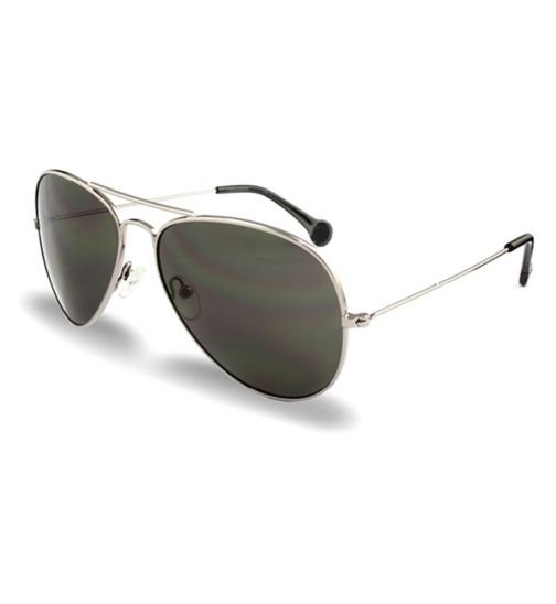 Converse Dark Gunmetal Aviator Sunglasses with Black Tips