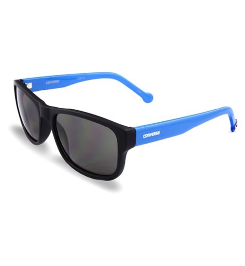 Converse Small Square Black Sunglasses with Blue Arms