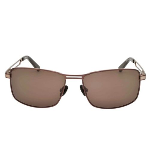Barbour Brown Metal Aviator Sunglasses with Arm Detail