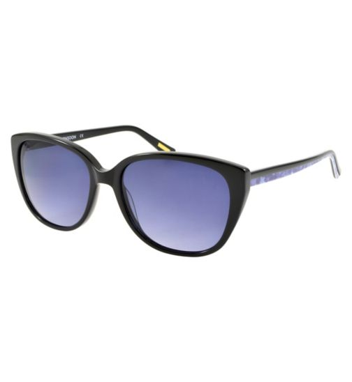 Monsoon Black Cat Eye Sunglasses with Blue Floral Arm Detail