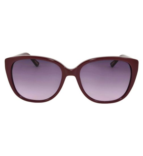 Monsoon Red Cat Eye Sunglasses with Floral Arm Detail