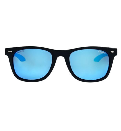 O'Neill Black Wayfarer Polarised Sunglasses with Blue Arms