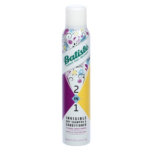 Batiste 2 in 1 Invisible Dry Shampoo & Conditioner Vanilla and Passion Flower 200ml