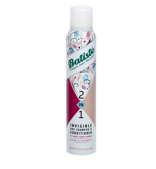 Batiste 2 in 1 Invisible Dry Shampoo & Conditioner Cocoa and Cashmere 200ml