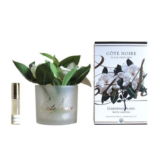 Côte Noire Perfumed Natural Touch Gardenias in Frost Glass