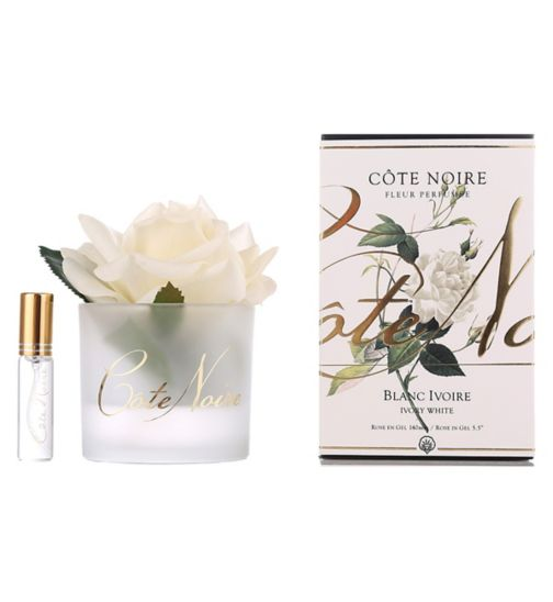 Côte Noire Perfumed Natural Touch Rose - Ivory White in Frost Glass