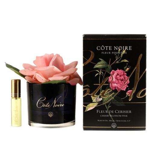 Côte Noire Perfumed Natural Touch Rose - Cherry Blossom Pink in Black Glass
