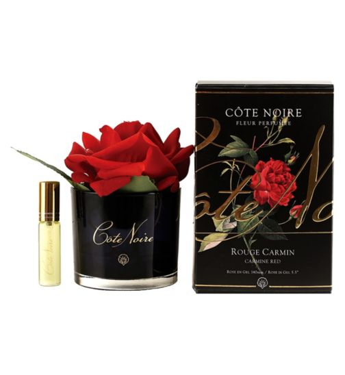 Côte Noire Perfumed Natural Touch Rose - Carmine Red in Black Glass