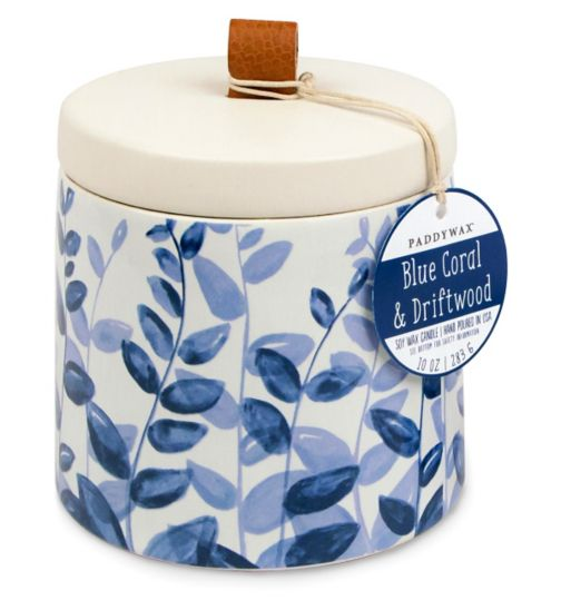 Paddywax Botany Ceramic Candle Blue Coral and Driftwood 285g