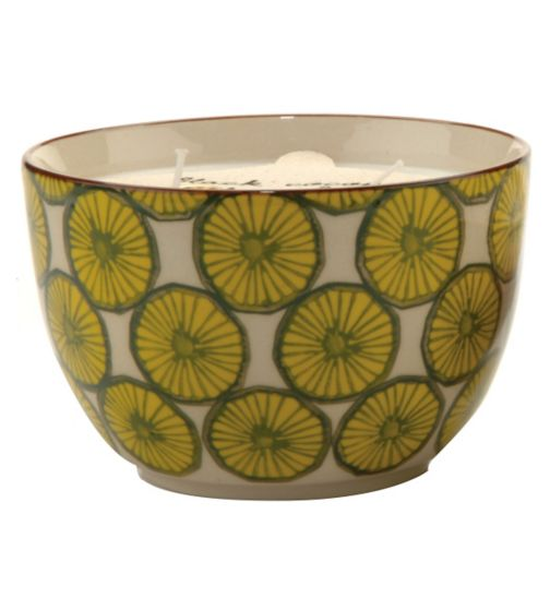Paddywax Boheme Hand Painted Ceramic Bowl Candle Black Coconut and Amber 355g