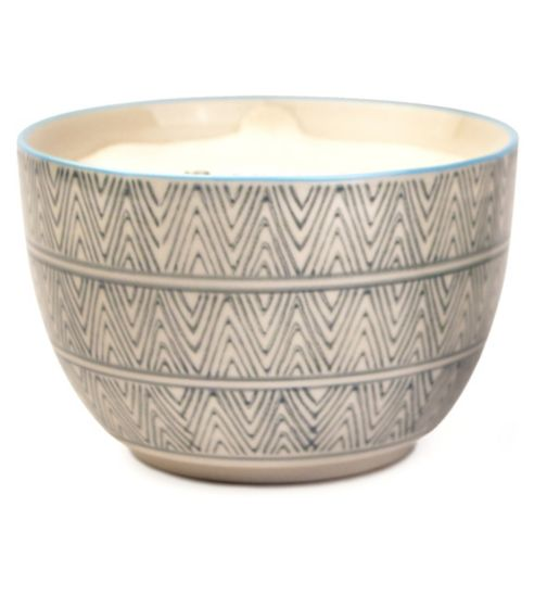 Paddywax Boheme Hand Painted Ceramic Bowl Candle Sea Salt and Sage 355g