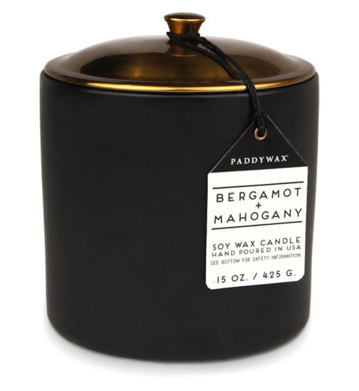 Paddywax Hygge Ceramic Candle Bergamot and Mahogany 425g