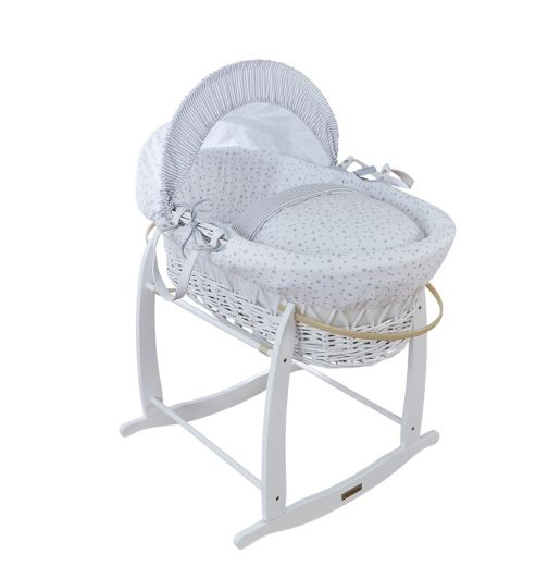 Clair De Lune White Wicker Moses Basket - Grey Stars And Stripes