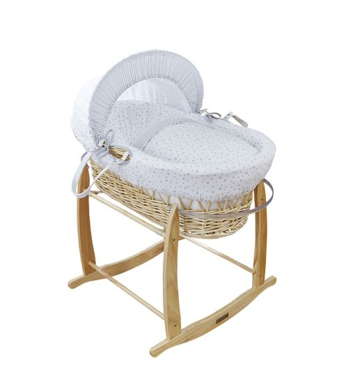Clair De Lune Natural Wicker Moses Basket - Grey Stars And Stripes