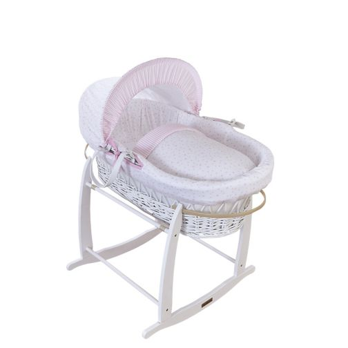 Clair De Lune White Wicker Moses Basket -Pink Stars And Stripes