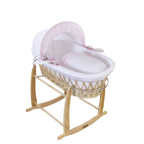 Clair De Lune Natural Wicker Moses Basket - Pink Stars And Stripes