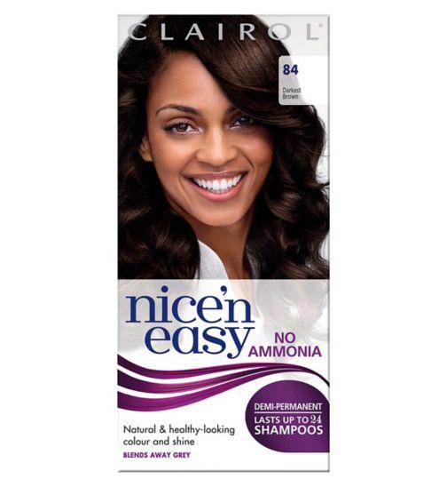 Nice'n Easy Non Permanent Hair Dye No Ammonia Darkest Brown 84