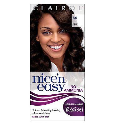 Clairol Nice n easy No Ammonia Non Permanent Hair Dye 84 Darkest Brown