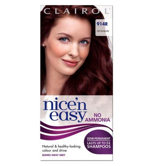 Nice'n Easy Non Permanent Hair Dye No Ammonia Dark Burgundy 914R