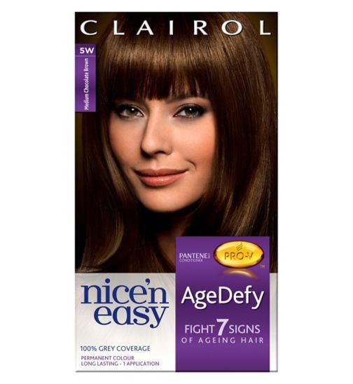 Nice'n Easy Age Defy Permanent Hair Dye Medium Chocolate Brown 5W
