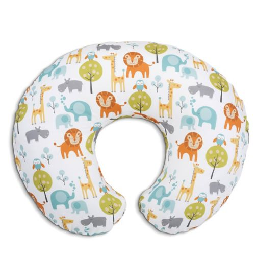 Chicco Boppy Pillow with Cotton Slipcover - Peaceful Jungle