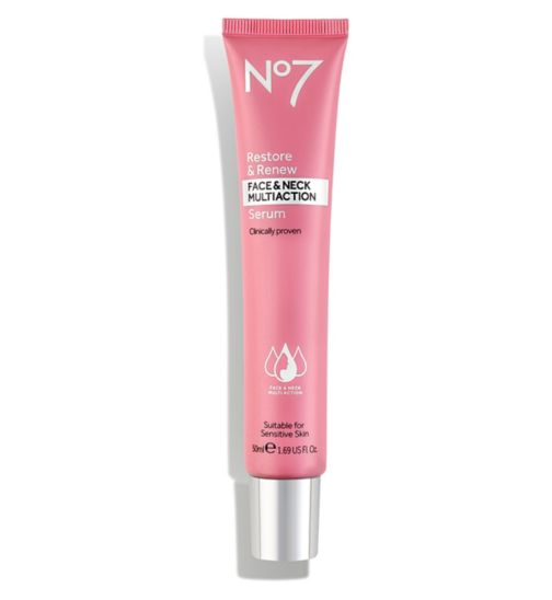 No7 Restore & Renew Face & Neck MULTI ACTION Serum 50ml